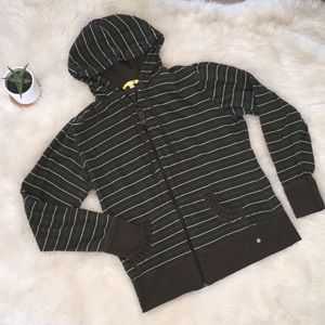 Lole Green and White Striped Zip Up Hoodie L